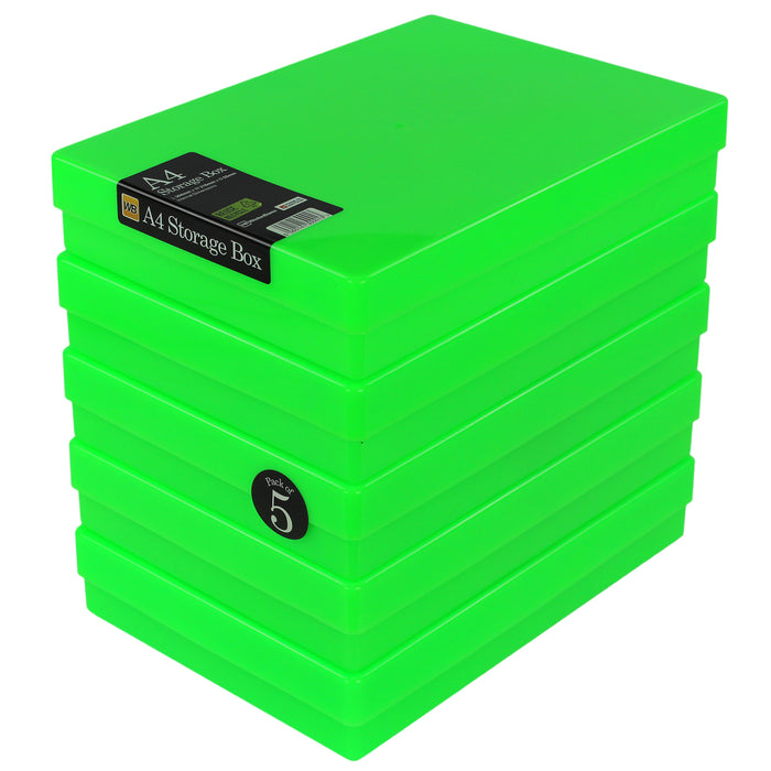 A4 Plastic Storage Box, Neon (5-pack)