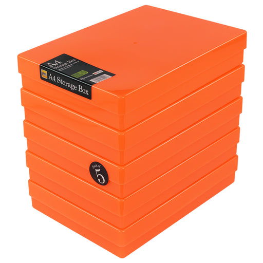 Neon Orange / Opaque, WestonBoxes Plastic A4 Paper Storage Box With Lid