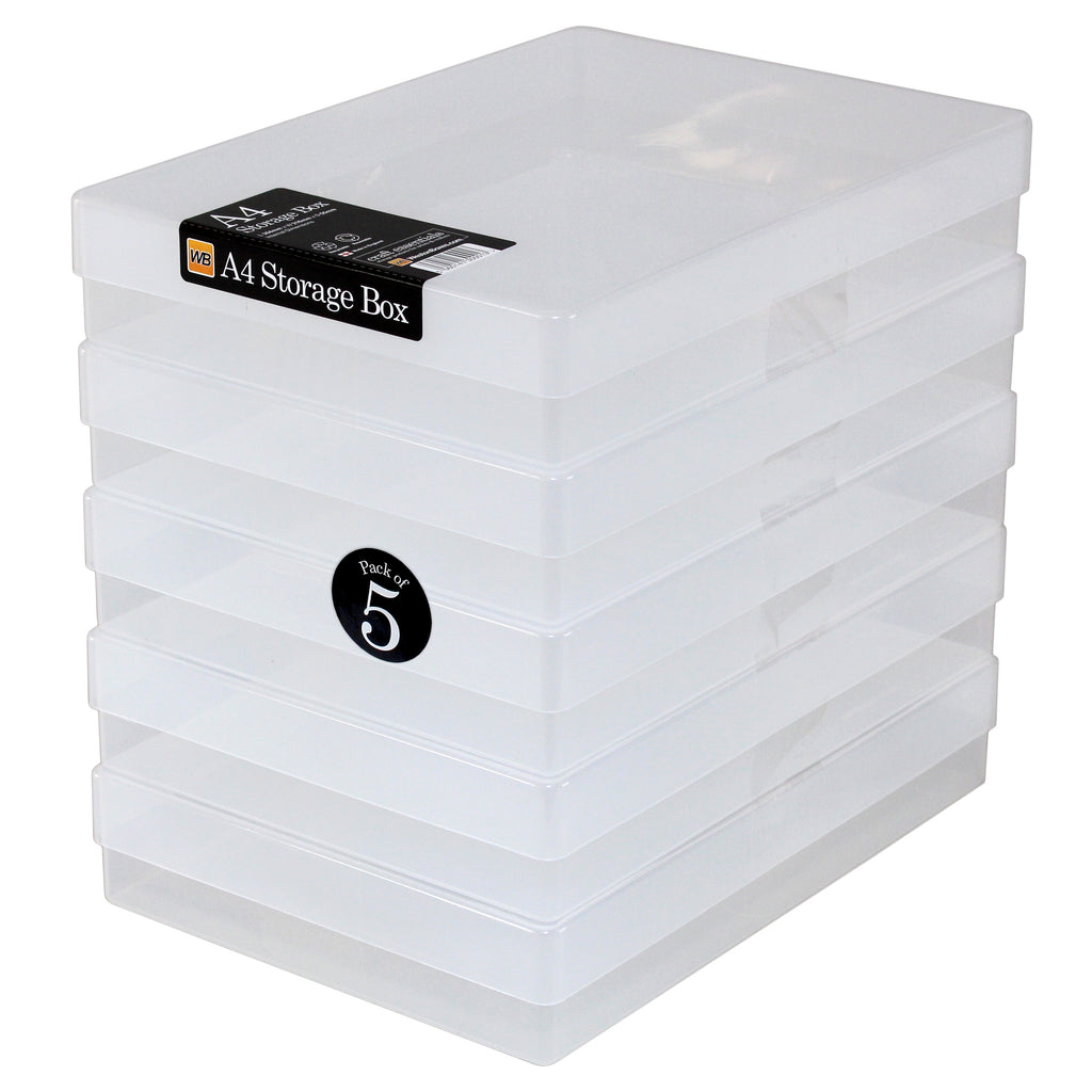 A4 Plastic Storage Boxes Clear (5-pack)  sc 1 st  WestonBoxes & WestonBoxes Plastic Storage Box for A4 Paper Clear (5-pack ...