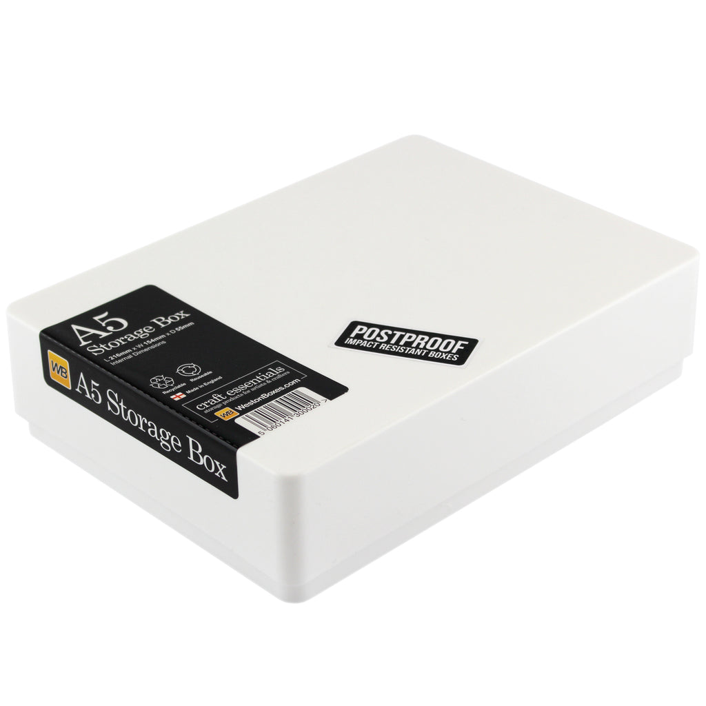 WestonBoxes - A5 Plastic Storage Box - White Tough