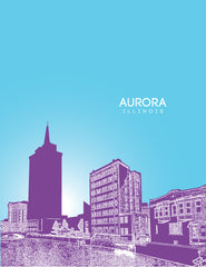 Aurora Illinois Skyline Poster