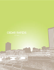 Cedar Rapids Iowa Skyline Poster