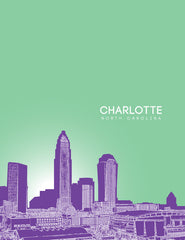 Charlotte North Carolina Skyline Poster