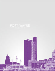 Fort Wayne Indiana Skyline Poster