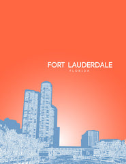 Ft Lauderdale Florida Skyline Poster