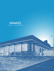 Hawaii State Capitol Skyline Art