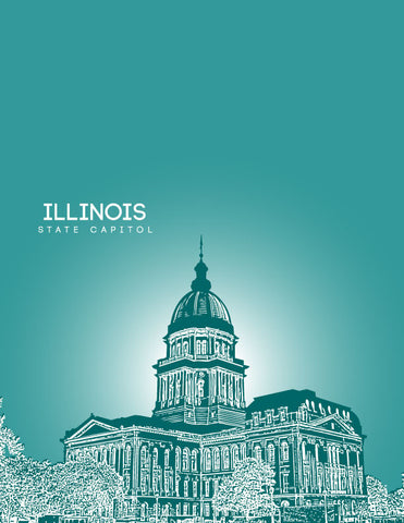 Illinois State Capitol Skyline Art