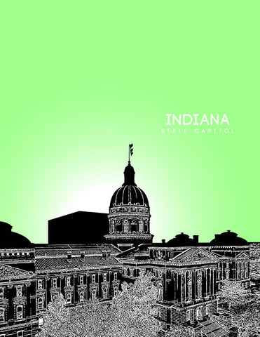 Indiana State Capitol Skyline Art