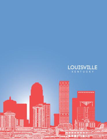 Louisville Kentucky Skyline Poster