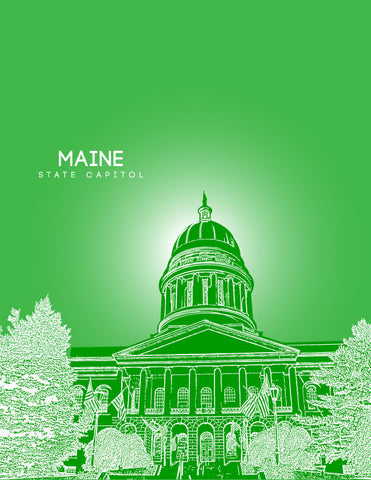 Maine State Capitol Skyline Art