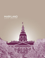 Maryland State Capitol Skyline Art