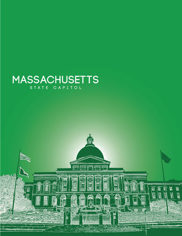 Massachusetts State Capitol Skyline Art