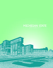 Michigan State University Skyline Poster