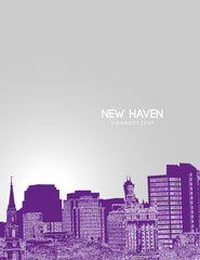 New Haven Connecticut Skyline Poster