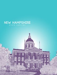 New Hampshire State Capitol Skyline Art