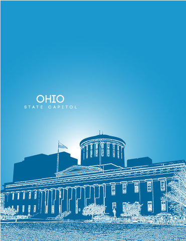 Ohio State Capitol Skyline Art