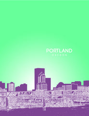 Portland Oregon Skyline Poster Version 2