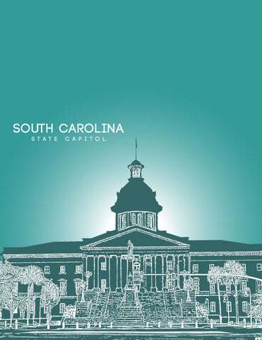 South Carolina State Capitol Skyline Art