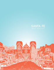 Santa Fe New Mexico Skyline Poster