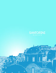 Santorini Greece Skyline Poster