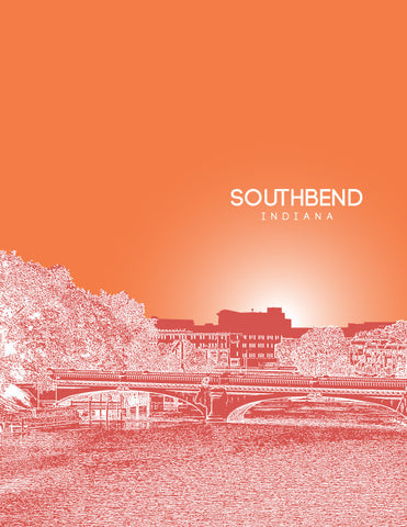 South Bend Skyline Poster