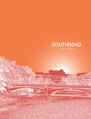 South Bend Indiana Skyline Poster