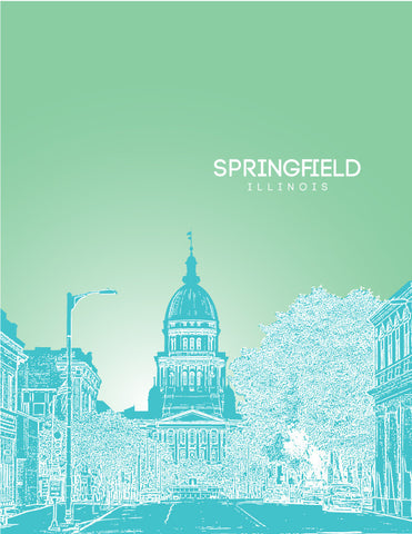 Springfield IL Skyline Poster