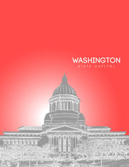 Washington State Capital Skyline Poster