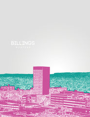 Billings Montana Skyline Poster