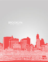 Brooklyn New York Skyline Poster