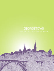 Georgetown District of Columbia Skyline Poster