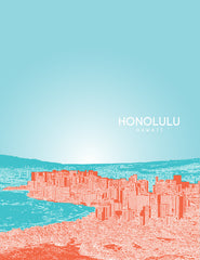 Honolulu-Hawaii Skyline Poster