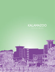 Kalamazoo Michigan Skyline Poster