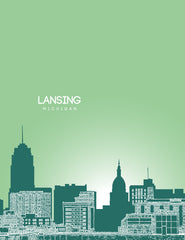 Lansing Michigan Skyline Poster