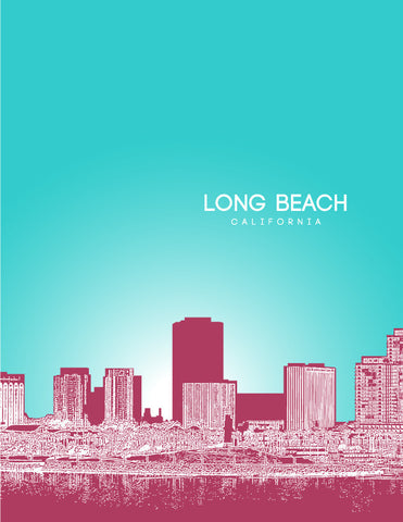 Long Beach Skyline Poster