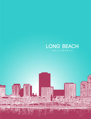 Long Beach California Skyline Poster