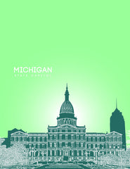 Michigan State Capitol Skyline Art