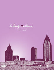 Mobile Alabama Skyline Poster