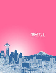 Seattle Washington Skyline Poster Version 2