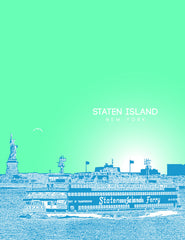 Staten Island New York Skyline Poster