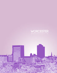 Worchester Massachusetts Skyline Poster