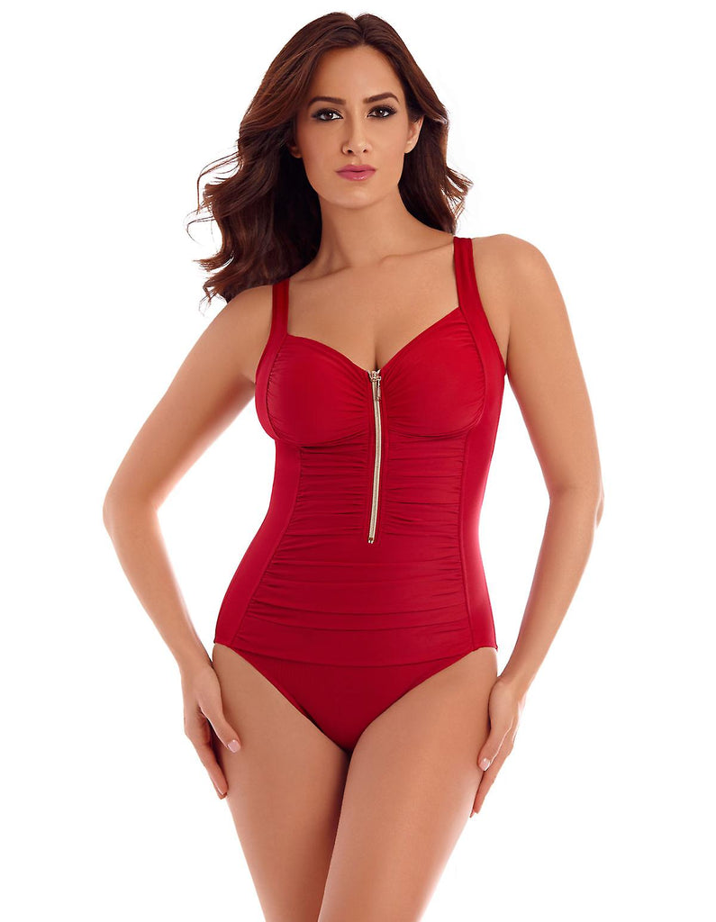 Miraclesuit 'So Riche' Zip Code Soft Cup Swimsuit- Tummy Control
