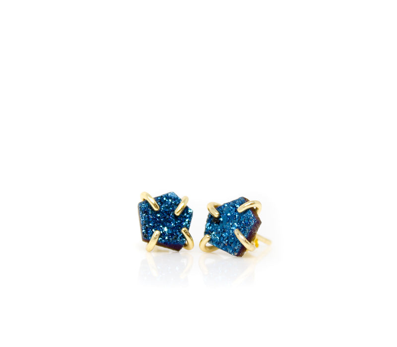 Peacock Druzy Prong Earrings