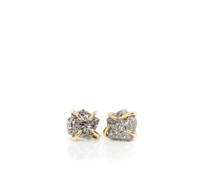 Silver Druzy Prong Earrings