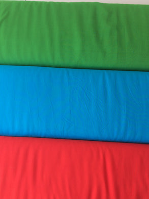 Viscose Fabric, Plain Red, Turquoise and Green