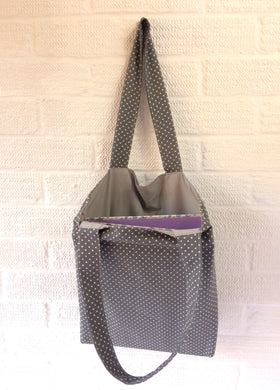 Grey Spotted Canvas Tote Bag