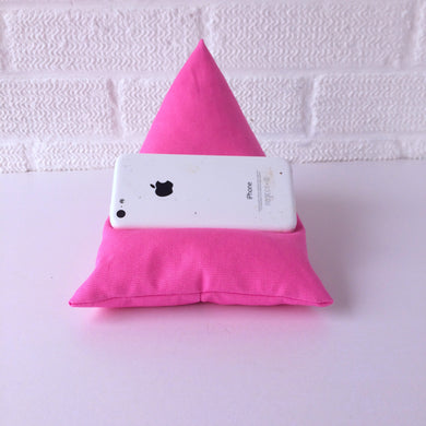 Pink Plain Phone Holder Bean Bag Cushion
