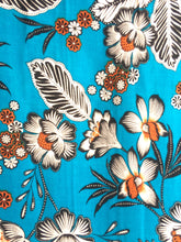 Load image into Gallery viewer, Turquoise Floral viscose Fabric with matching plain turquoise viscose