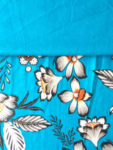 Turquoise Floral viscose Fabric with matching plain turquoise viscose