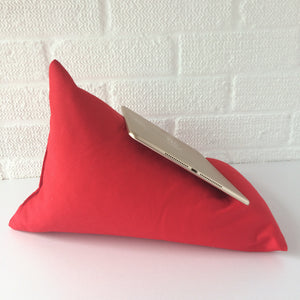 Red Plain Tablet or iPad Holder,  Bean Bag Cushion